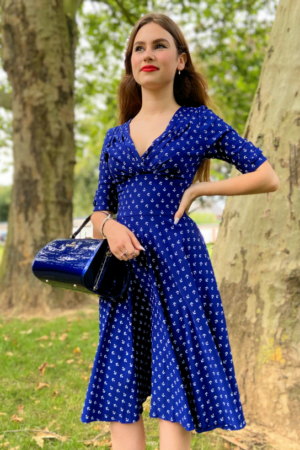DELORES DRESS BLUE ANCHOR PRINT
