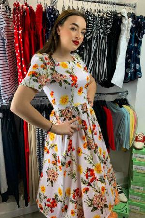 SUNFLOWER FLORAL SWING DRESS