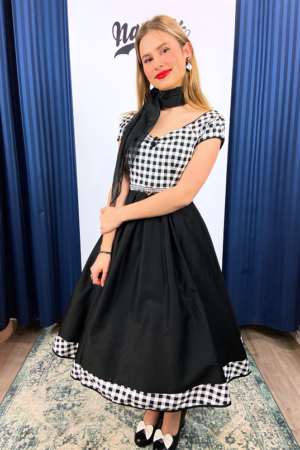 LILY OFF SHOULDER CHECKERED SWING DRESS