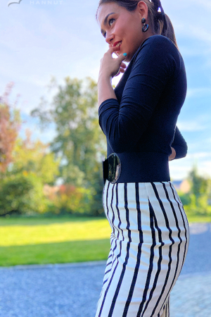 POLLY GHOST STRIPES PENCIL SKIRT