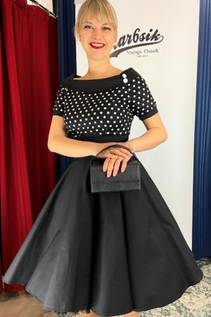 DARLENE 50'S STYLE SWING DRESS IN BLACK POLKA BLACK
