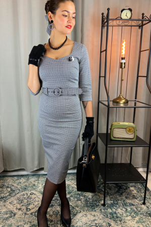 KATYA HOUNDSTOOTH PENCIL DRESS