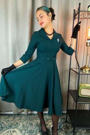 GABRIELLA SWING DRESS IN EMERALD GREEN