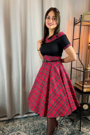 DARLENE RETRO SWING DRESS IN RED TARTAN